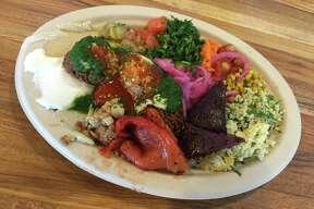 Falafel plate with everything at Moshe's Golden Falafel.