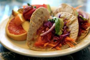 Adelente serves up classic Tex-Mex veggie goodness, such as these tacos.