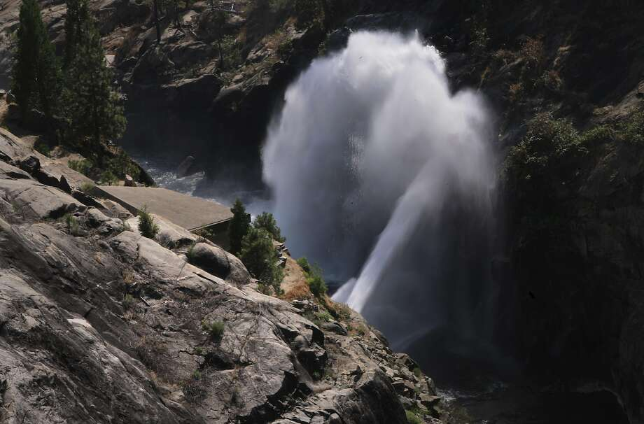 Water from Hetch Hetchy reservoir is shot out of a pipe into the Tuolumne RIver downstream in Yosemite National Park, California, on Thurs. July 28, 2016.  Mountain Tunnel, a key piece of the Hetch Hetchy water system is at risk of collapse, so this summer, the San Francisco Public Utilities Commission is preparing to repair the 19-mile-long tunnel just outside of Yosemite in a steep, hard-to-access wilderness area. Photo: Michael Macor, The Chronicle