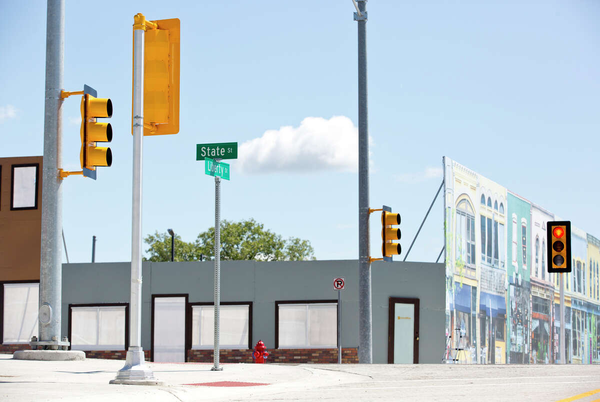 An intersection with traffic lights in MCity, a testing environment in Ann Arbor, Mich., for driverless vehicles, which some experts say could be the ultimate future for transportation.
