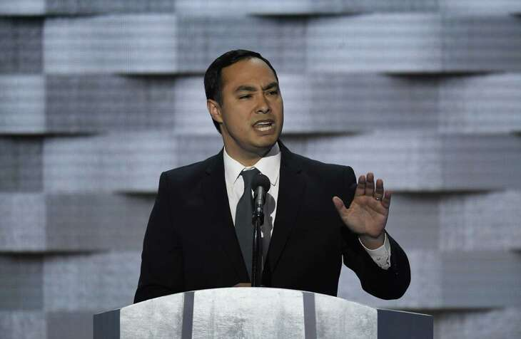 Representative Joaquin Castro, a Democrat from Texas, speaks during the Democratic National Convention (DNC) in Philadelphia, Pennsylvania, U.S., on Thursday, July 28, 2016. Division among Democrats has been overcome through speeches from two presidents, another first lady and a vice-president, who raised the stakes for their candidate by warning that her opponent posed an unprecedented threat to American diplomacy. Photographer: David Paul Morris/Bloomberg