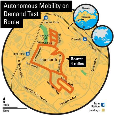 A map shows one of the initial routes for Delphi's autonomous taxi test in Singapore.
