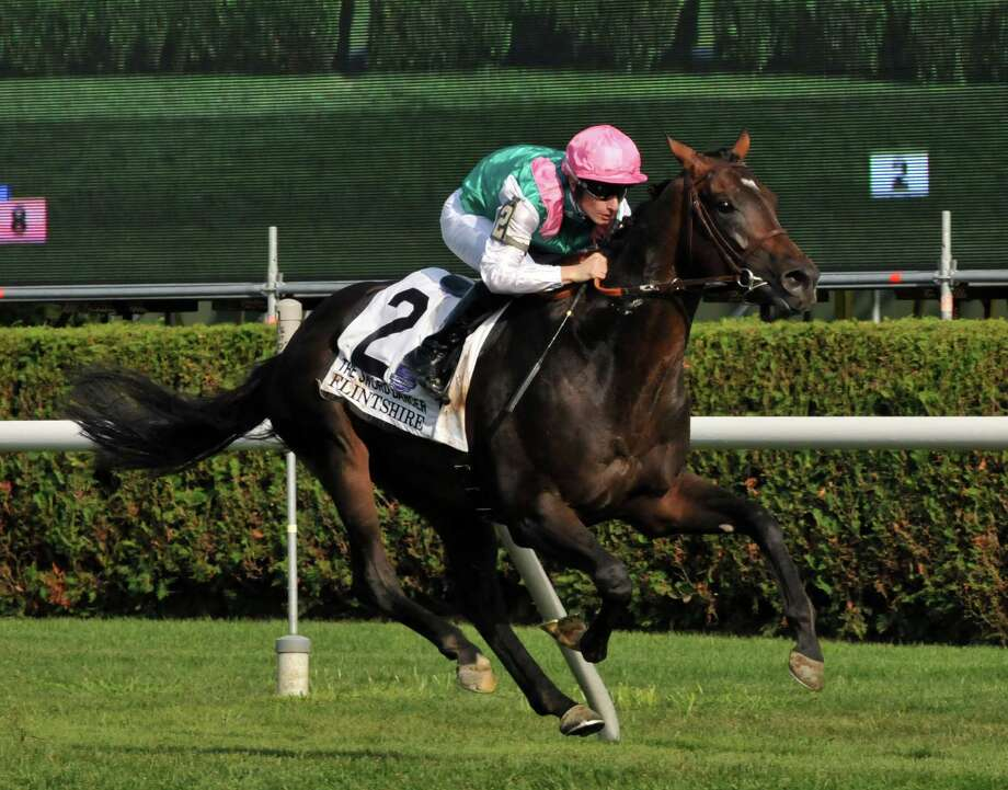 Flintshire, ridden by Jockey Vincent Cheminaud, wins the Sword Dancer Stakes at Saratoga Race Course on Saturday, Aug. 29, 2015, in Saratoga Springs, N.Y. (Phoebe Sheehan/Special to The Times Union) Photo: PS / 00033156C
