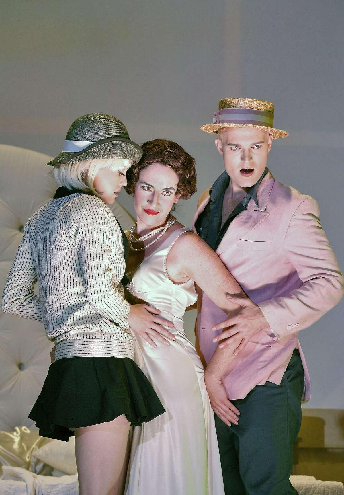 Emma McNairy (l.), Laura Bohn and Jonathan Blalock in Thomas Ad�s� �Powder Her Face� at West Edge Opera