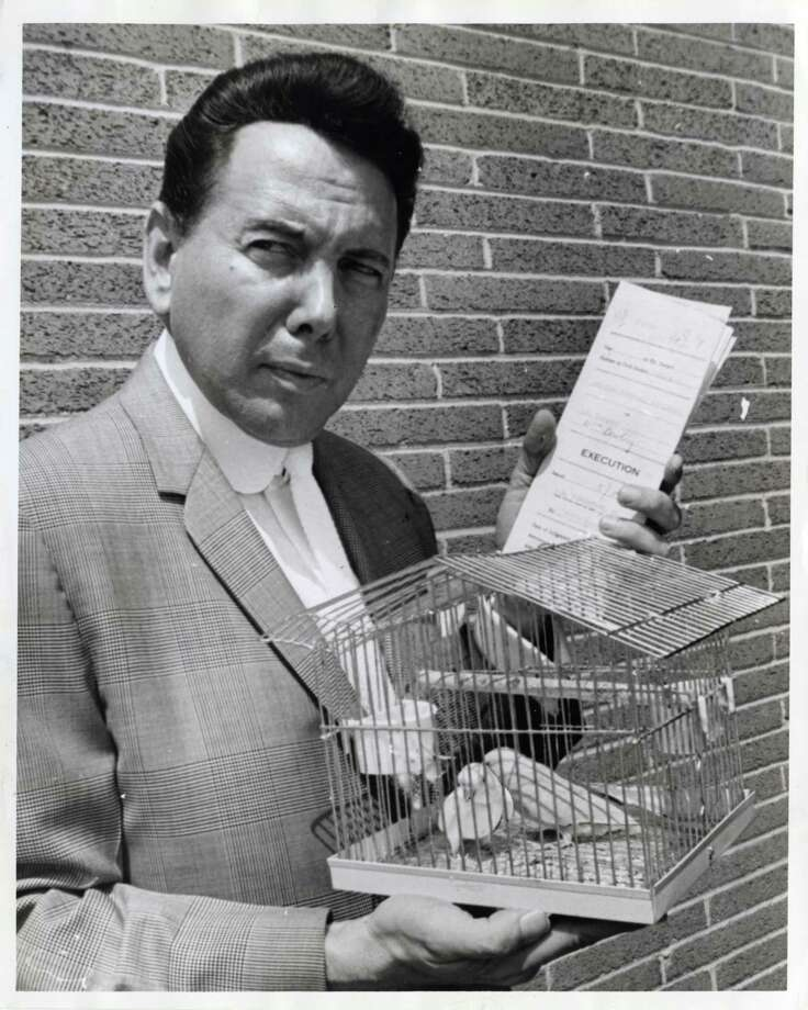 """07/13/1965 -  A PREGNANT PARAKEET?   This pair of parakeets were all Deputy Sheriff Marvin Zindler got when he served a court order for a $487.43 judgment against Dr. C. W. Thompson III, at 2117 Dowling. As the deputy started to leave with the birds, the nurse told him the female of the pair was """"in a family way"""" and to be careful with them. Zindler carefully took the birds home to await the next sheriff's sale. Photo: Evan Peskin, Staff / Houston Post Files"""