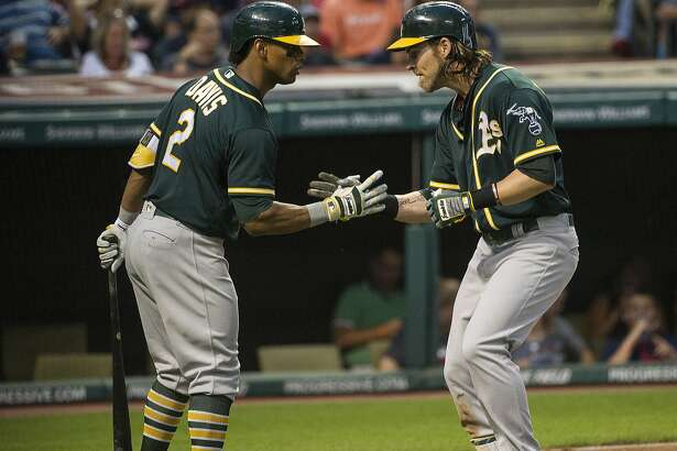 Oakland Athletics Josh Reddick, right, is congratulated by Khris Davis after hitting a home run off Cleveland Indians starter Trevor Bauer during the sixth inning of a baseball game in Cleveland, Friday, July 29, 2016. (AP Photo/Phil Long)
