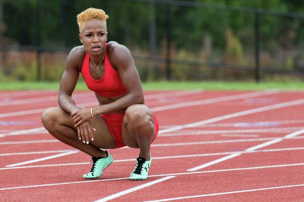 Natasha Hastings at the United States Track & Field Olympic Team open workout at Blackshear Field in Prairie View, TX, on Friday, July 29, 2016.
