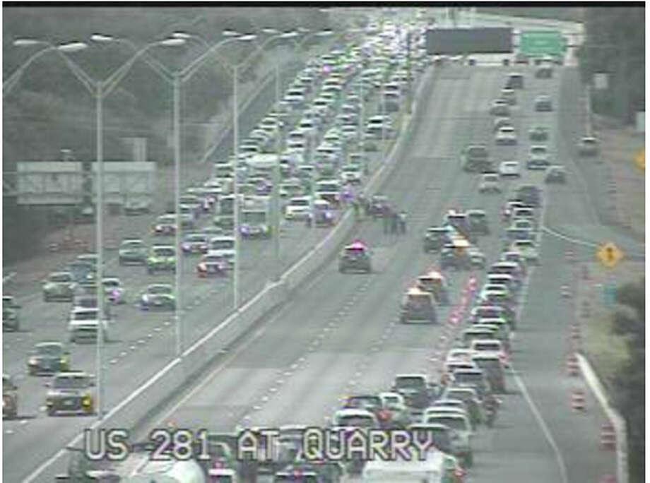 A crash on U.S. 281 near the Alamo Quarry Market has closed three main southbound lanes.