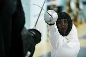 Courtney Hurley, 25, works out at Alliance Fencing Academy while preparing for the upcoming Rio Olympics on Thursday, July 14, 2016, in Houston. ( Brett Coomer / Houston Chronicle )