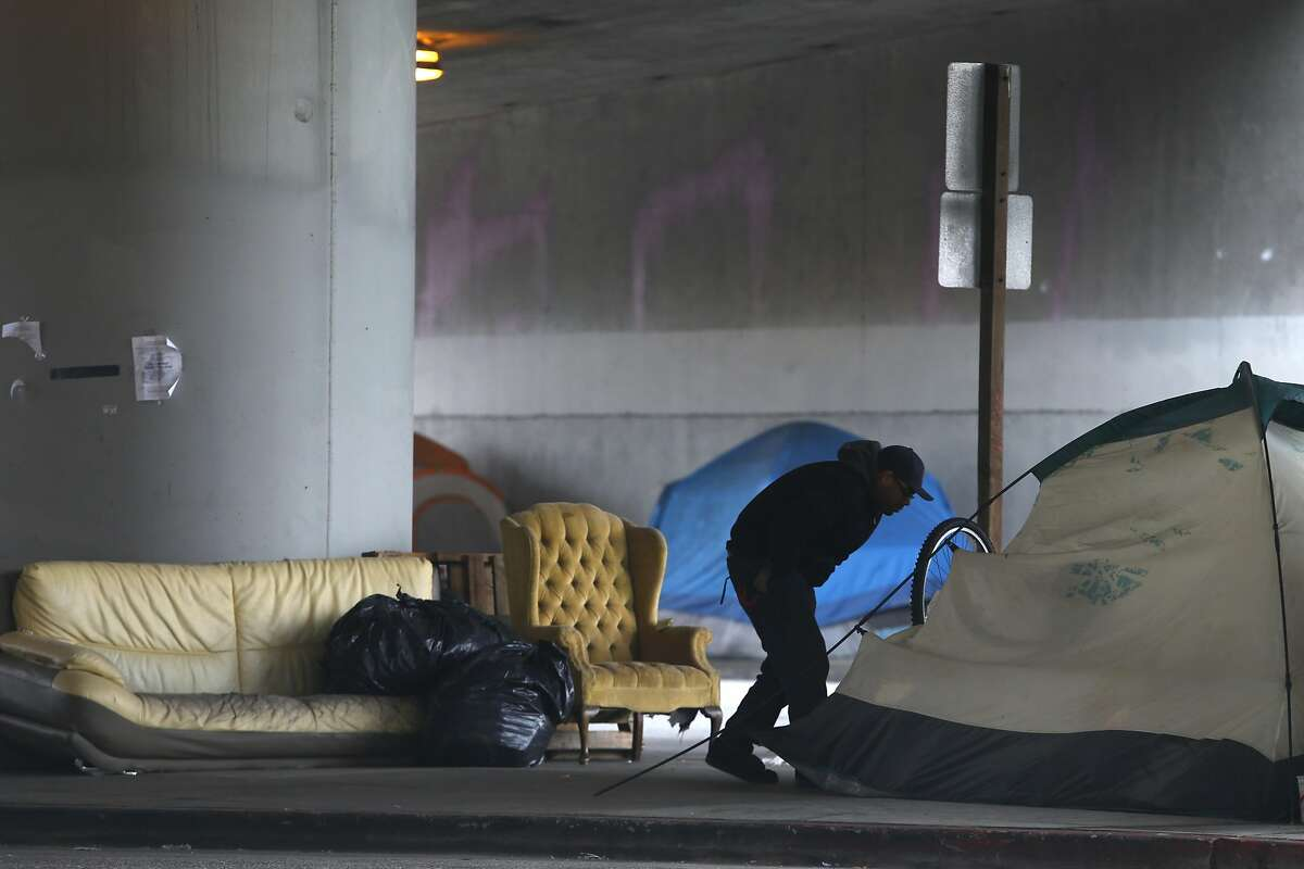 A homeless tent camp at 35th and Peralta streets in Oakland.