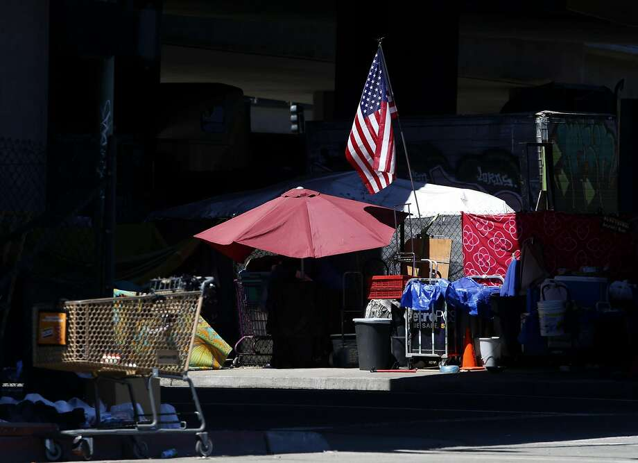 Homeless camps are popping up all over Oakland, Calif., including one at 5th and Brush streets on Saturday, July 30, 2016. Photo: Paul Chinn, The Chronicle