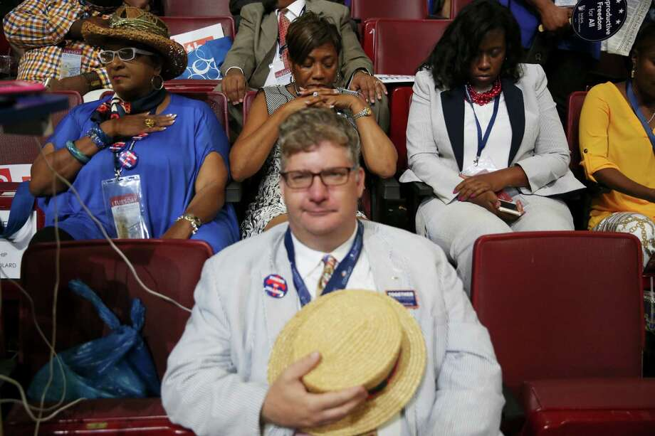 Some of the audience during the invocation on the second day of the Democratic National Convention, at the Wells Fargo Center in Philadelphia, July 26, 2016. (Damon Winter/The New York Times) Photo: DAMON WINTER, STF / NYTNS