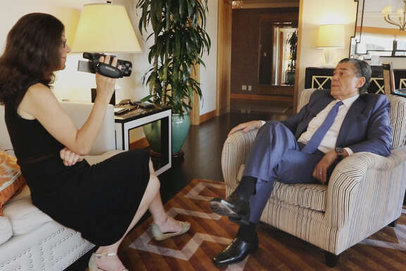 "Filmmaker Alexandra Pelosi interviews businessman Haim Saban during the filming of the documentary, ""Meet the Donors."""
