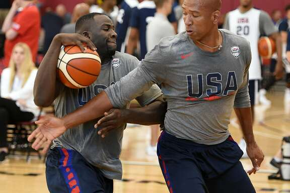 LAS VEGAS, NV - JULY 18:  Draymond Green #4 of the 2016 USA Basketball Men's National Team drives against assistant coach Monty Williams of the 2016 USA Basketball Men's National Team during a practice session at the Mendenhall Center on July 18, 2016 in Las Vegas, Nevada.  (Photo by Ethan Miller/Getty Images)