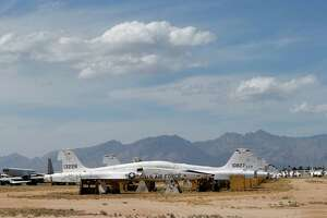 Air Force Northrop T-38 Talon trainer jets are stored at the 309th Aerospace Maintenance and Regeneration Group boneyard Thursday, May 14, 2015 at Davis-Monthan Air Force Base in Tucson, Ariz. (AP Photo/Matt York)