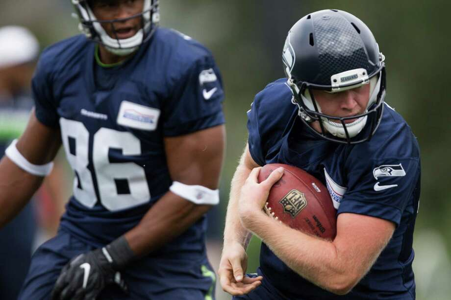 Seahawks long snapper Nolan Frese runs a drill during the first day of training camp, at Virginia Mason Athletic Center in Renton on Saturday, July 30, 2016. Photo: GRANT HINDSLEY, SEATTLEPI.COM / SEATTLEPI.COM