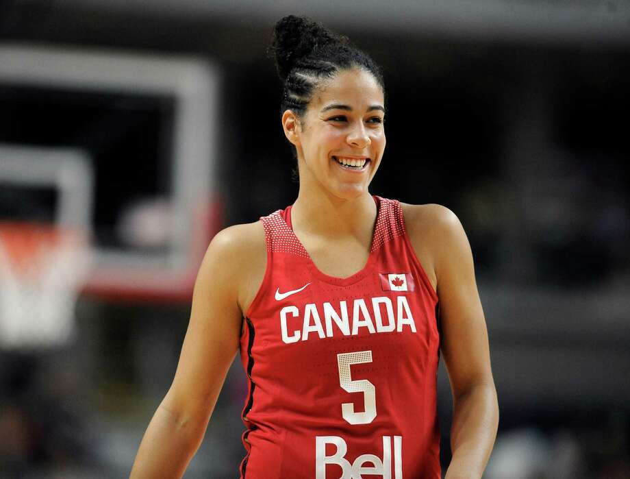 Canada's Kia Nurse smiles during the second half of a women's exhibition basketball game against the United States Friday, in Bridgeport. Photo: Jessica Hill / Associated Press / AP2016