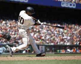 San Francisco Giants' Eduardo Nunez swings on a two-run double against the Washington Nationals during the fourth inning of a baseball game in San Francisco, Saturday, July 30, 2016. (AP Photo/Tony Avelar)