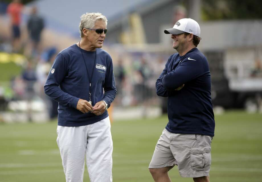 In their first public comments since February at the NFL combine, Seattle Seahawks head coach Pete Carroll and general manager John Schneider offered insight into the latest surrounding the team on a pre-draft Zoom call with local media on Tuesday. Photo: Elaine Thompson/AP
