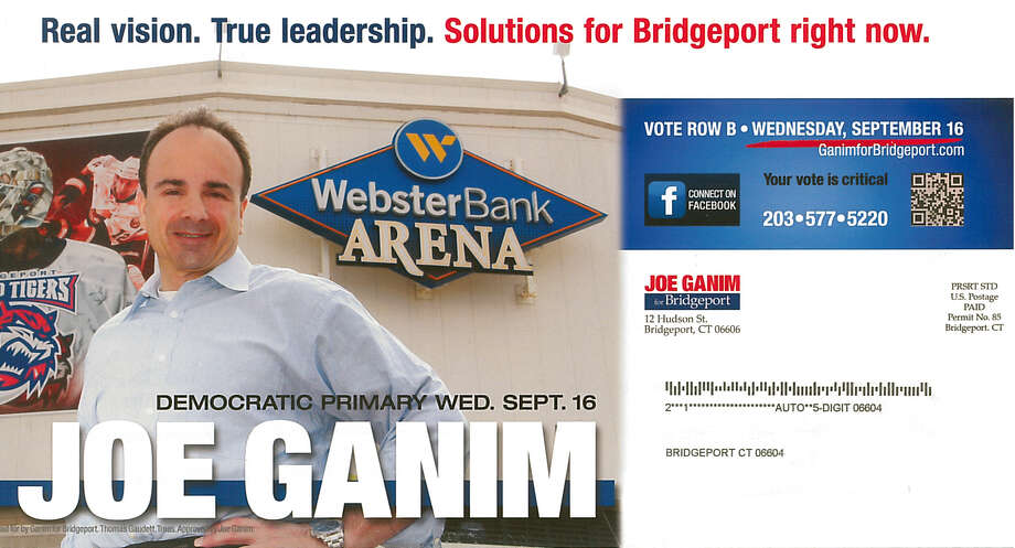Then-candidate for mayor Joe Ganim poses in front of the Webster Bank Arena in a campaign brouchure from 2015. Ganim's first administration built the arena in the late 1990s. Photo: Contributed Photo / Connecticut Post Contributed