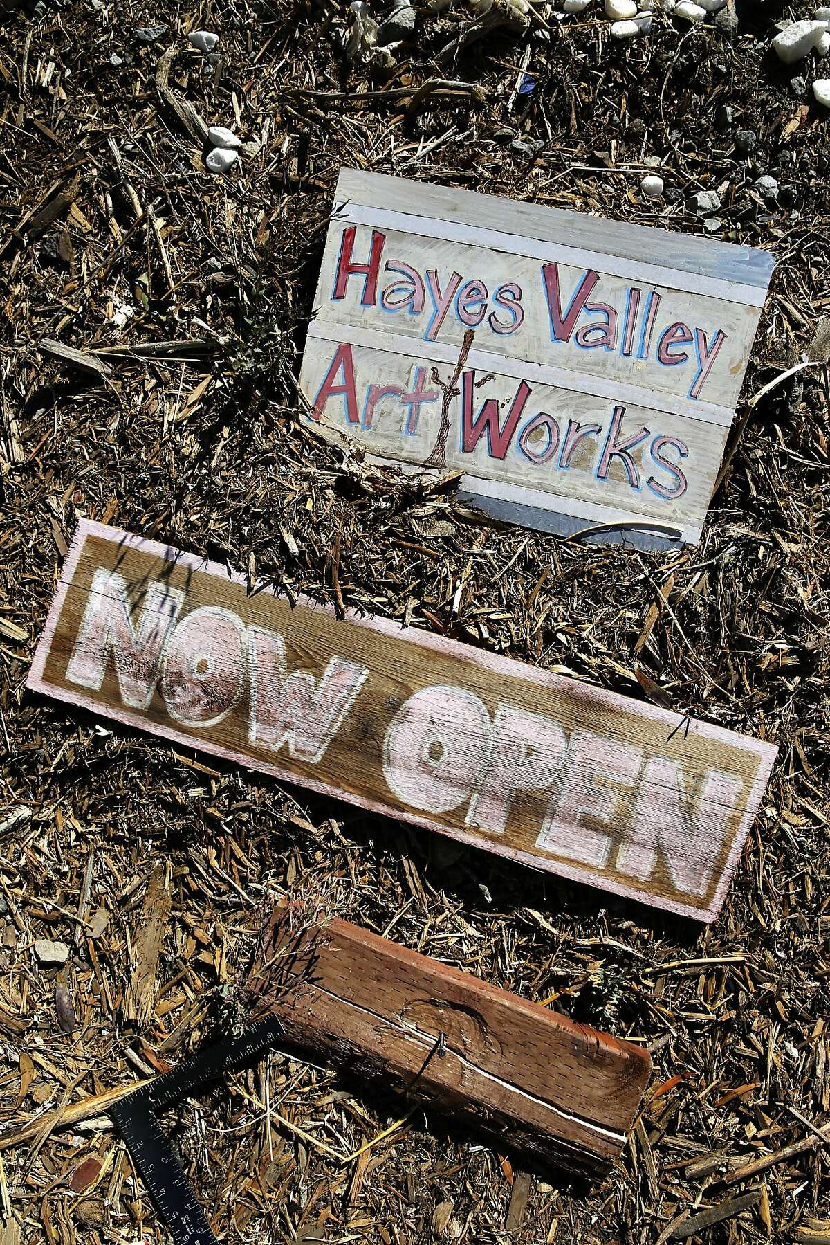 Signs will soon be put into place to inform passerby of the Hayes Valley Art Works, an art activation site where the Fell St. offramp used to be near Octavia, in San Francisco, California, as seen on Sat. July 30, 2016.