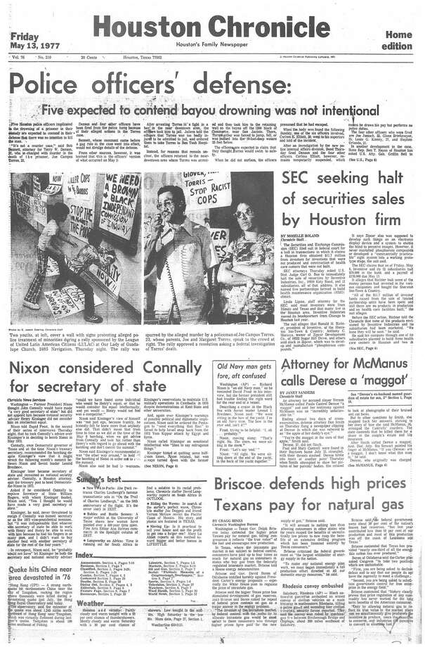 Houston Chronicle front page (HISTORIC) - May 11, 1977 - section 1, page 1. (JOSE CAMPOS TORRES)