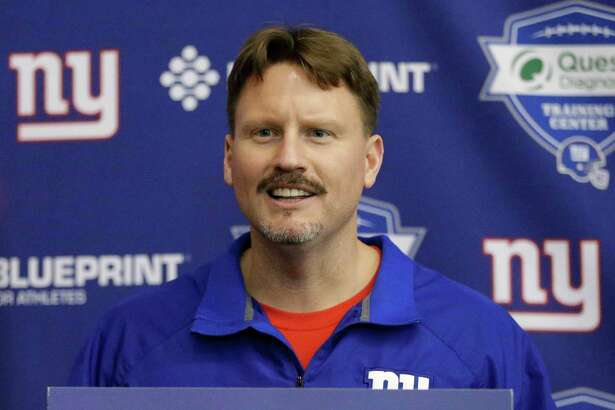 New York Giants' head coach Ben McAdoo responds to questions from the media after a minicamp practice Tuesday, April 26, 2016, in East Rutherford, N.J. (AP Photo/Frank Franklin II) ORG XMIT: NJFF109