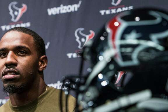 Houston Texans running back Lamar Miller speaks to the media during a news conference announcing his signing at NRG Stadium on Thursday, March 10, 2016, in Houston. The Texans introduced four free agent signees Thursday, including quarterback Brock Osweiler, guard Jeff Allen, center, Tony Bergstrom and Miller. ( Brett Coomer / Houston Chronicle )