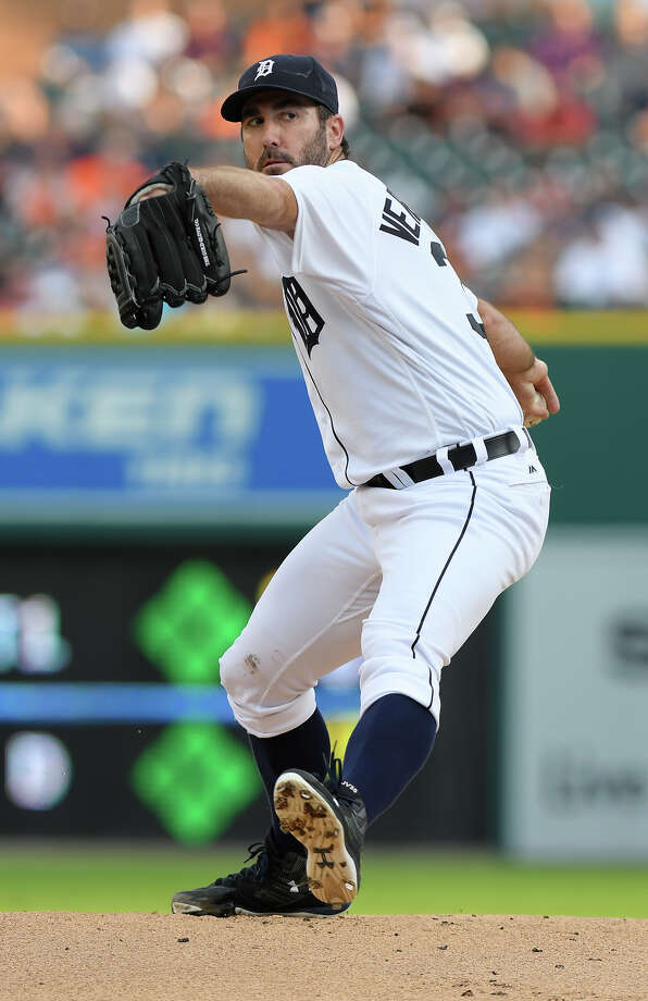 Detroit Tigers starting pitcher Justin Verlander throws to a Houston Astros batter during the first inning of a baseball game Saturday, July 30, 2016, in Detroit. (AP Photo/Lon Horwedel) Photo: LON HORWEDEL, Associated Press / FR170538 AP