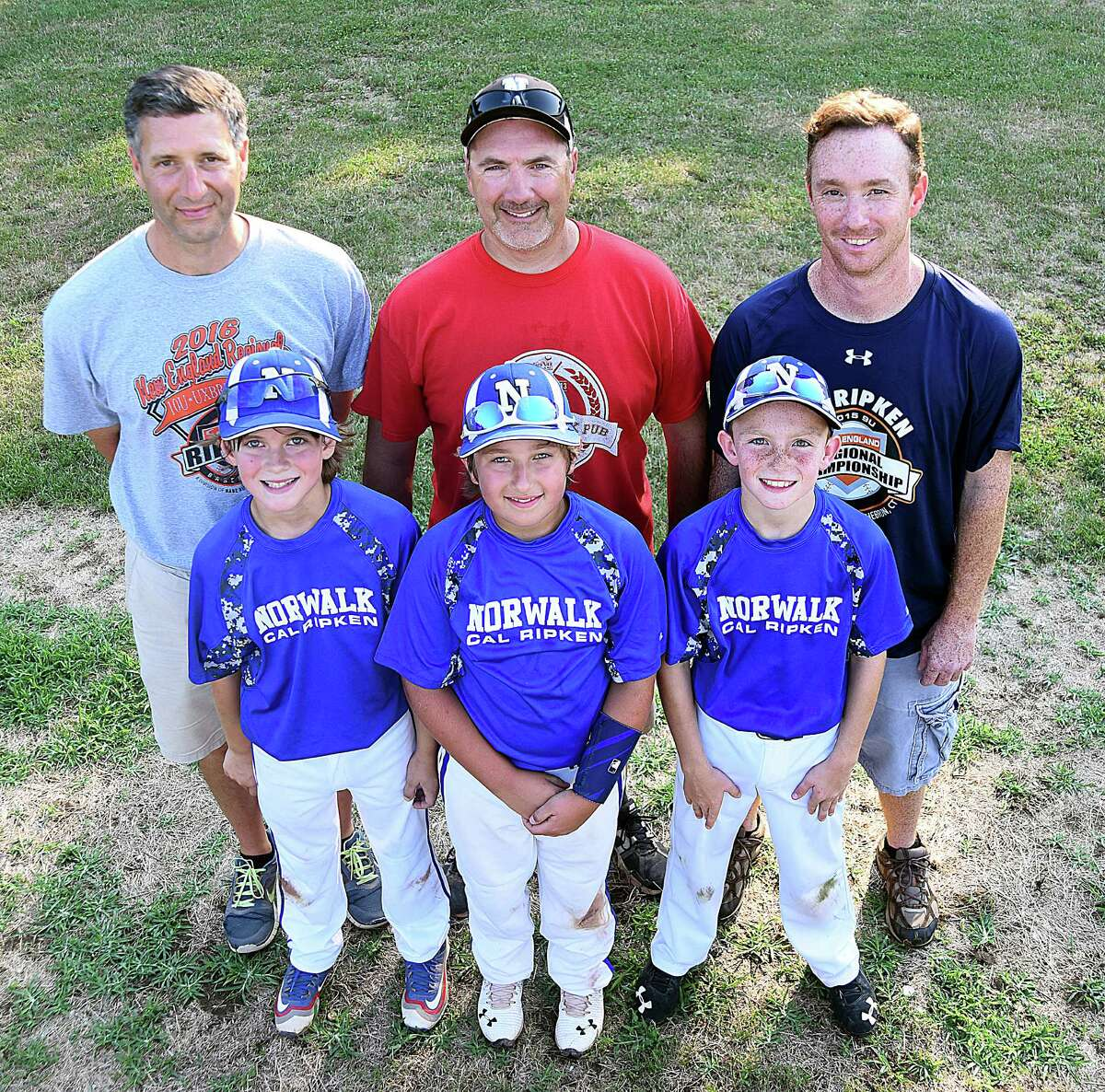 Father and sons have played a big role in the success of the Norwalk 10-year-old Cal Ripken All-Stars over the last two summer as the coaching staff of, back row from left, Scott Feinstein, Billy Lengyel and Randy Weiss have put together a summer to remember for a team that includes their sons, front row, from right, Henry Feinstein, Sean Lengyel and Brian Weiss. The Ripken 10s head to Palm Beach Gardens, Fla., next week to play in the Cal Ripken 10-year-old World Series.