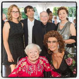 Margrit Mondavi (seated left) and Sophia Loren are flanked by family and fans Andrea and Carlo Ponti (standing, left) and Jan and Maria Shrem at Far Niente Winery. July 2016. By Drew Altizer.