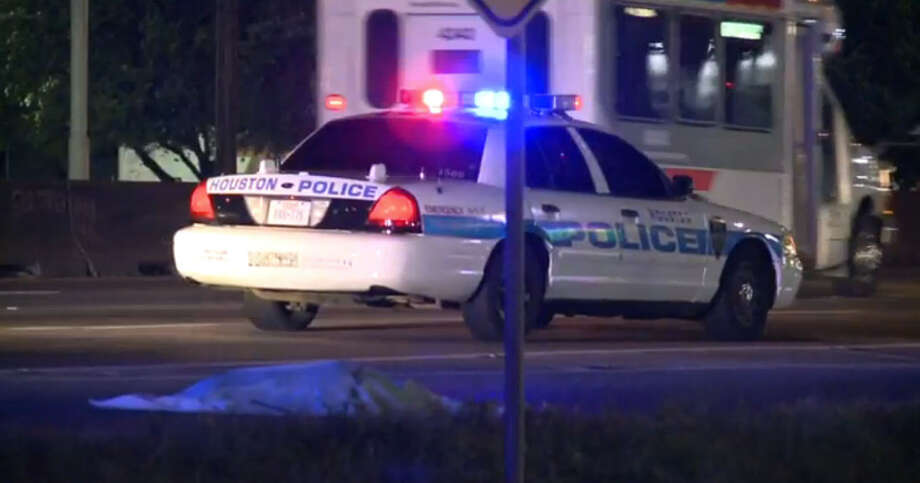 A woman was walking at 3:55 a.m. Sunday in the 6900 block of North Freeway. She died after she was struck on the West Little York exit ramp by a driver who failed to stop and render aid. Photo: Metro Video