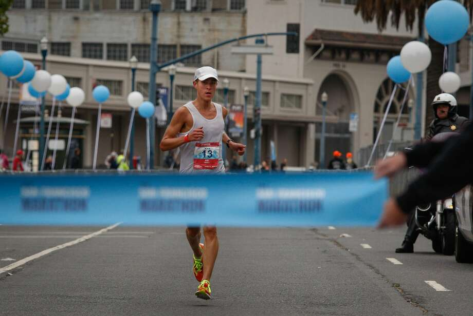 Max Haines-Stiles of San Francisco approaches the finish to win the 2016 San Francisco Marathon with a time of 2:30:42 Sunday morning, July 31, 2016. Photo: Brian Feulner, Special To The Chronicle