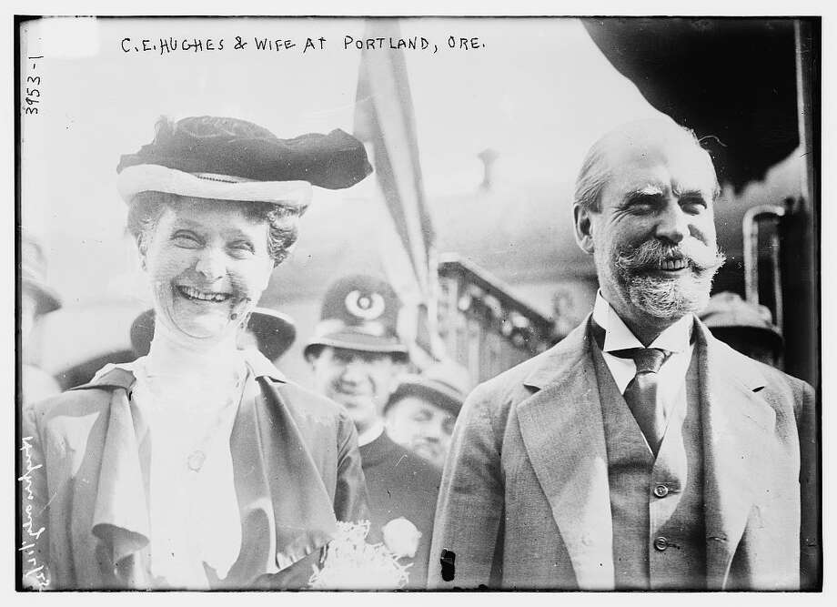 """""""Photograph shows Charles Evans Hughes (1862-1948), a Republican politician and lawyer from New York with his wife in Portland, Oregon. (Source: Flickr Commons project, 2014)."""" Bain News Service Collection, Library of Congress. Photo: Library Of Congress"""