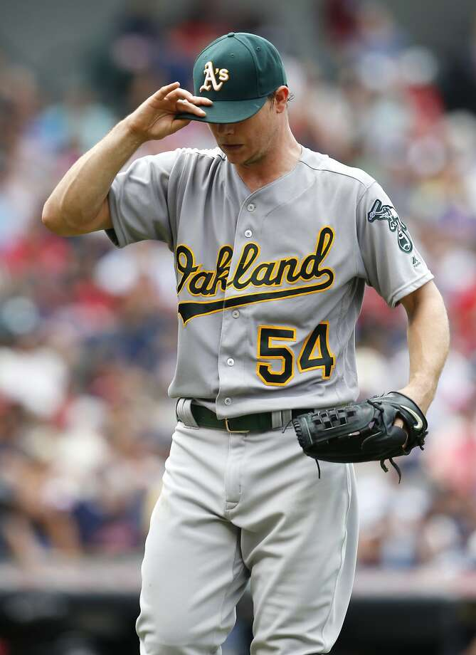 Oakland Athletics starting pitcher Sonny Gray walks off the field after as he is removed from the baseball game after walking Cleveland Indians' Carlos Santana to load the bases during the fourth inning of a baseball game Sunday, July 31, 2016, in Cleveland. (AP Photo/Ron Schwane) Photo: Ron Schwane, Associated Press