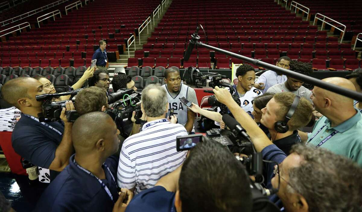 Team USA basketball player Kevin Durant became the center of attention before practice at the Toyota Center Sunday, July 31, 2016, in Houston.