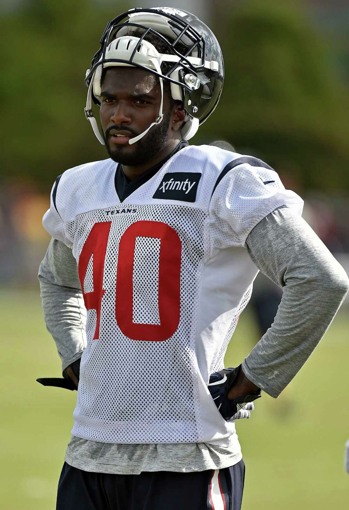 Houston Texans defensive back Duke Thomas watches during a practice at the NFL football team's training camp, Sunday, July 31, 2016, in Houston. (AP Photo/Eric Christian Smith)