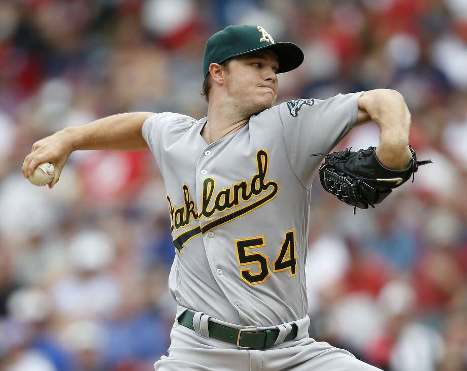 Oakland Athletics starting pitcher Sonny Gray delivers against the Cleveland Indians during the second inning of a baseball game Sunday, July 31, 2016, in Cleveland. (AP Photo/Ron Schwane) Photo: Ron Schwane, Associated Press