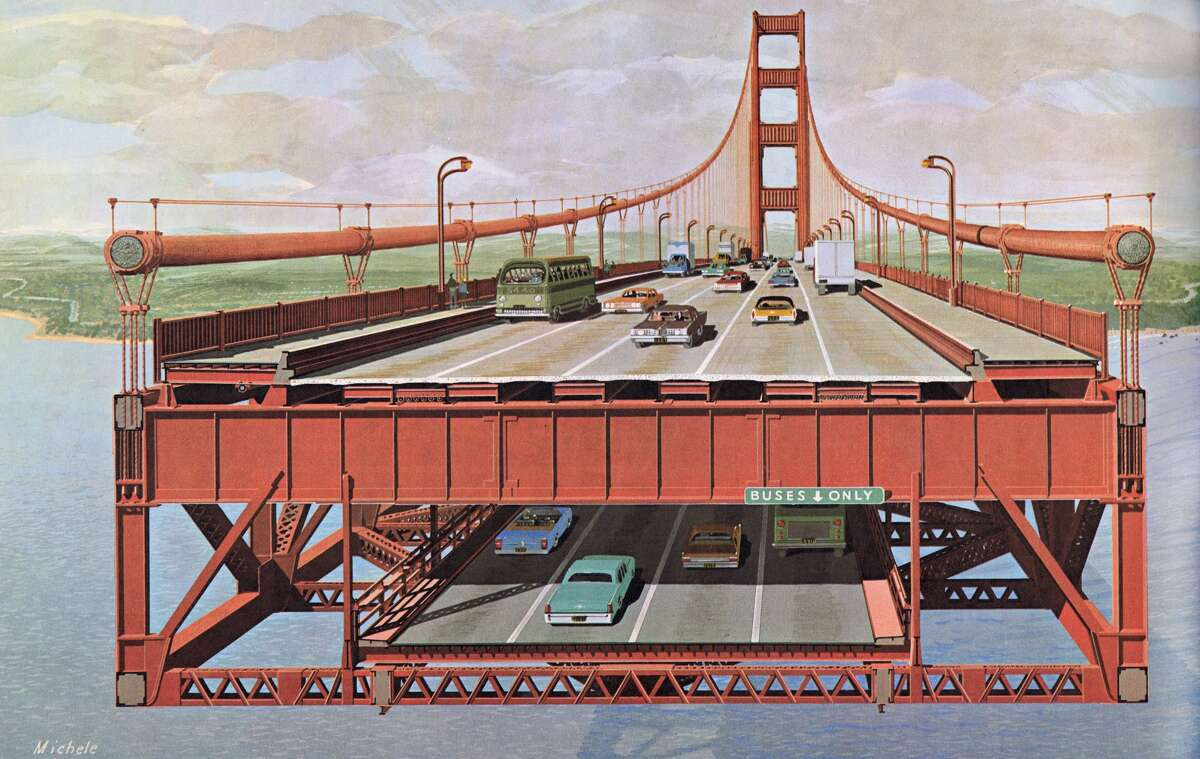 """An image from the 1968 report """"Golden Gate Bridge Lower Deck for Vehicular Traffic: Report on the Concept, Preliminary Design and Estimated Cost,"""" prepared by Ammann & Whitney for the Golden Gate Bridge District."""