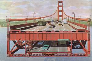"""An image from the 1968 report """"Golden Gate Bridge Lower Deck for Vehicular Traffic: Report on the Concept, Preliminary Design and Estimated Cost"""" prepared by Ammann & Whitney for the Golden Gate Bridge District."""
