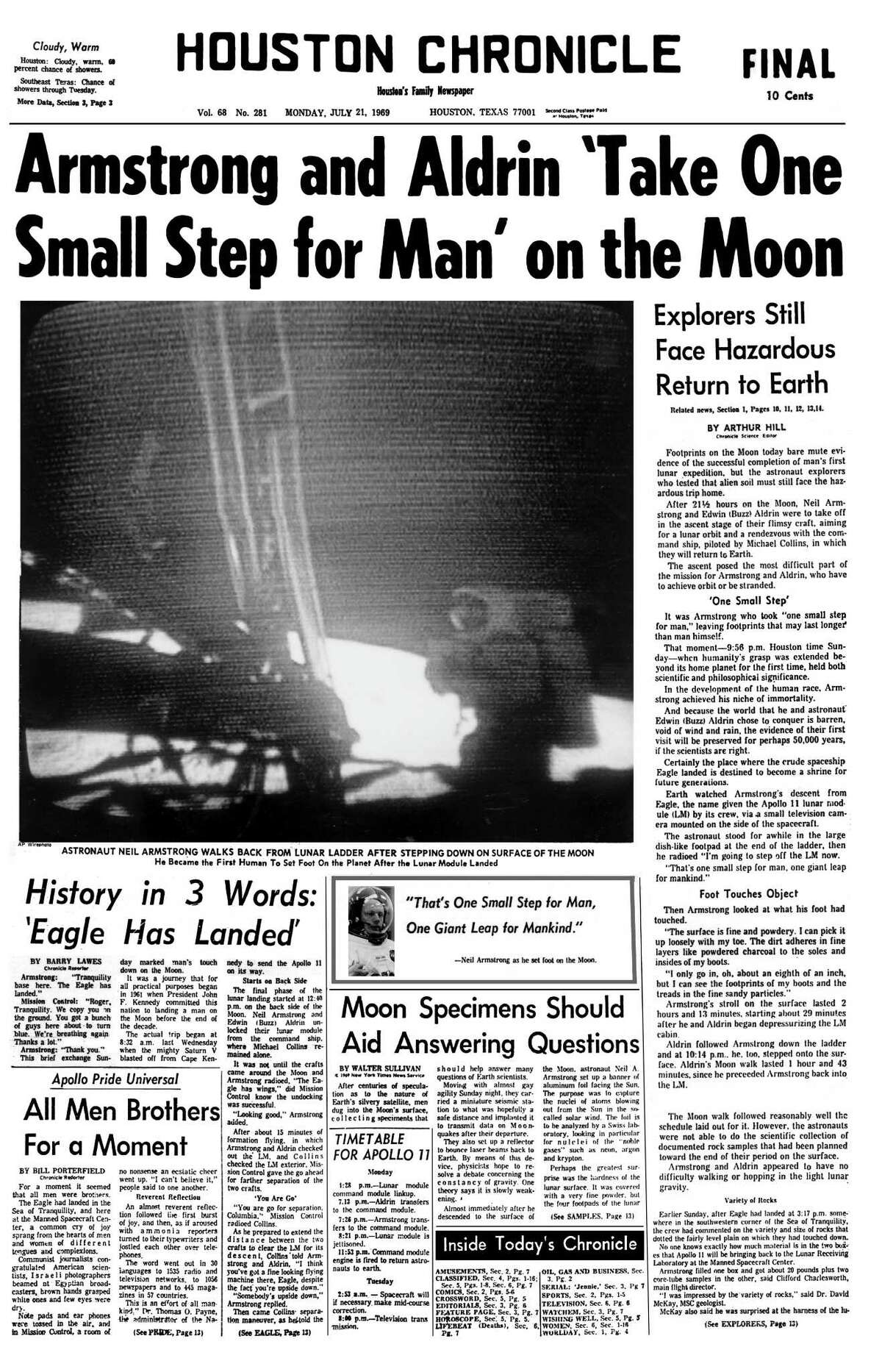 Houston Chronicle front page (HISTORIC) -- July 21, 1969 (FINAL EDITION, first Moon landing) -- Armstrong and Aldrin 'Take One Small Step for Man' on the Moon.