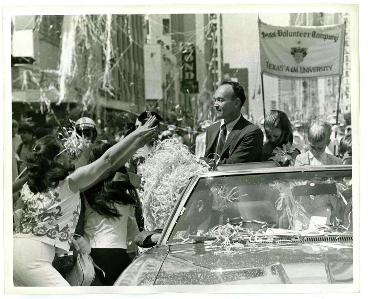08/16/1969 - Apollo 11 astronaut Michael Collins in ticker tape parade in downtown Houston.