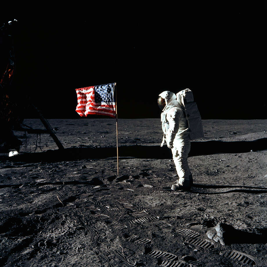 "Astronaut Edwin ""Buzz"" Aldrin is shown on July 20, 1969, after landing at Tranquility Base. Astronaut Neil Armstrong took the photograph. / NASA"