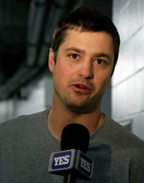 New York Yankees relief pitcher Andrew Miller speaks to the media after being traded to the Cleveland Indians before a baseball game against the Tampa Bay Rays Sunday, July 31, 2016, in St. Petersburg, Fla.  (AP Photo/Chris O'Meara) Photo: Chris O'Meara, STF / AP