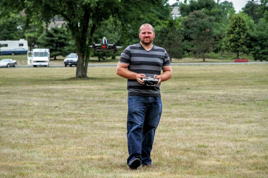 Steven Gambino pilots his quadcopter in Menands Saturday. (Photo: J.p. Lawrence).