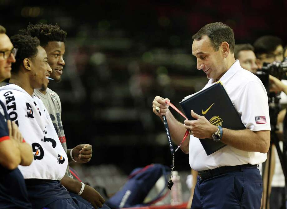 Team USA basketball DeMar DeRozan (left) and Jimmy Butler joke with Coach Mike Krzyzewski before practice at the Toyota Center Sunday, July 31, 2016, in Houston.  ( Steve Gonzales  / Houston Chronicle  ) Photo: Steve Gonzales / © 2016 Houston Chronicle