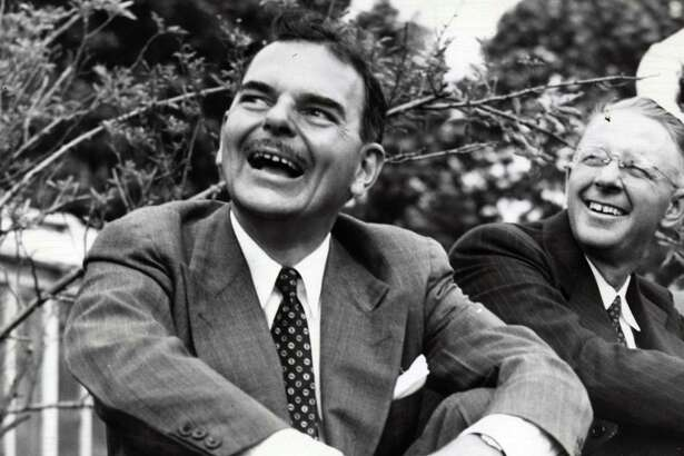 Gov. Thomas E. Dewey meets with a group of 100 farm editors Sept. 18, 1948, at his farm in Pawling, N.Y. (ACME/Times Union archive)