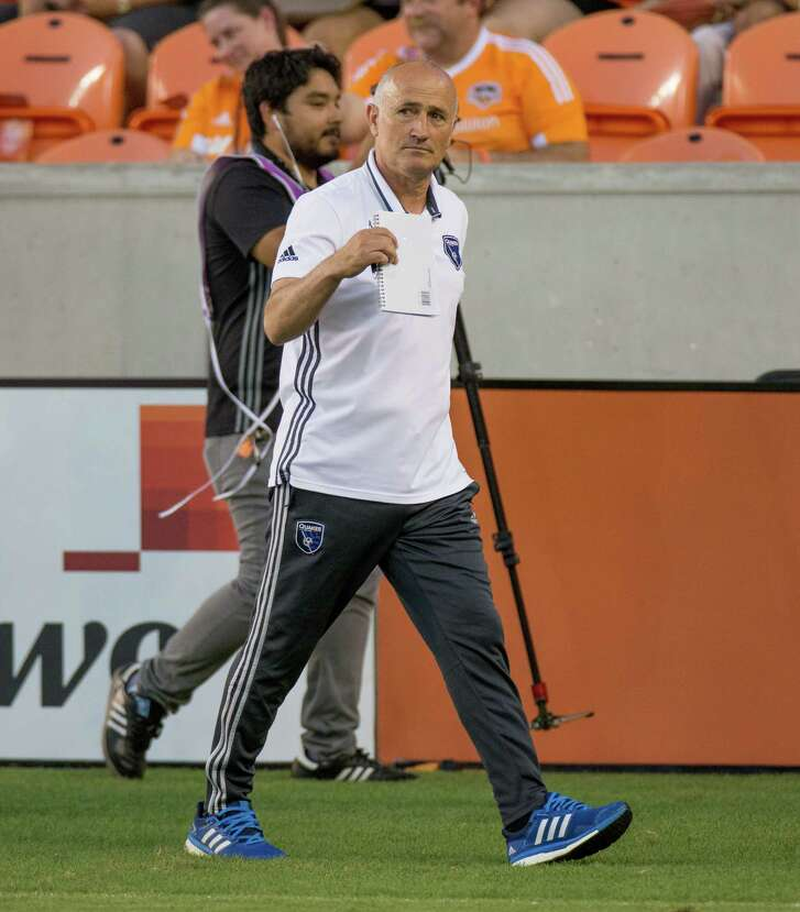 San Jose Earthquakes manager Dominic Kinnear on the field during practice before action between the between the Houston Dynamo and the San Jose Earthquakes during an MLS soccer game at BBVA Compass, Sunday, July 31, 2016, in Houston. (Juan DeLeon/for the Houston Chronicle)