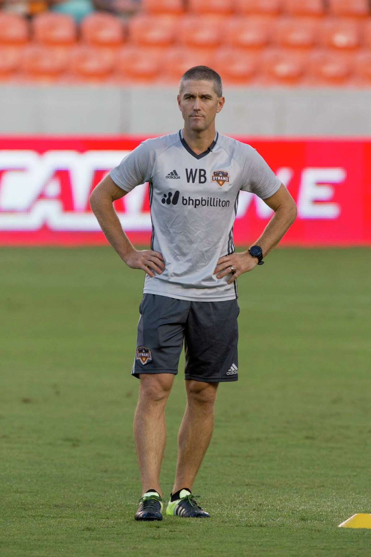 Houston Dynamo interim manager Wade Barrett on the field during practice before action between the between the Houston Dynamo and the San Jose Earthquakes during an MLS soccer game at BBVA Compass, Sunday, July 31, 2016, in Houston. (Juan DeLeon/for the Houston Chronicle)