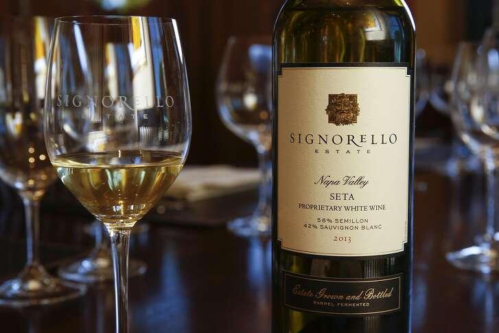 Wine pairing tasting premium experience at $175 at Signorello Estate winery in Napa, California on Saturday July 30, 2016. Signorello 2013 Seta, Estate proprietary white wine.